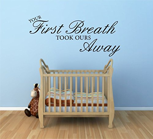 FIRST BREATH NURSERY KIDS WALL ART QUOTE STICKER DECAL MURAL SELF ADHESIVE VINYL WSD652 from Wall Smart Designs