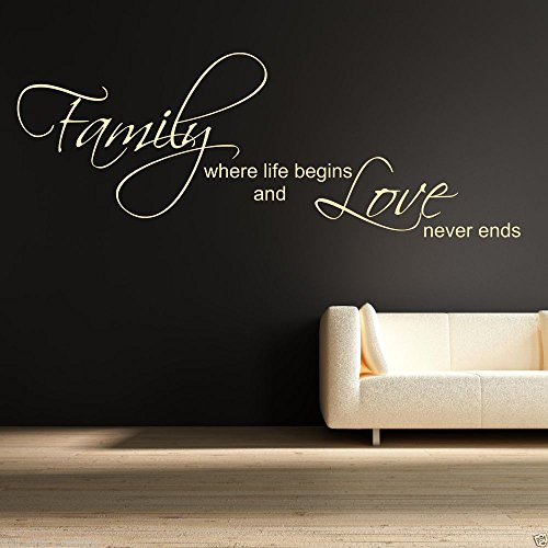 Family Love Life Begin Wall Art Sticker Quote Decal Mural Stencil Transfer Decor WSD418 from Wall Smart Designs
