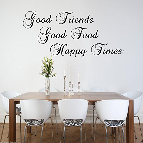 GOOD FRIENDS HAPPY Wall Art Sticker Lounge Quote Decal Mural Transfer Stickers from Wall Smart Designs