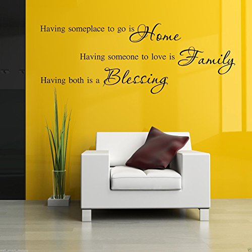 HOME FAMILY BLESSING Wall Art Sticker Lounge Quote Decal Mural Stencil Transfer2 WSD487 from Wall Smart Designs