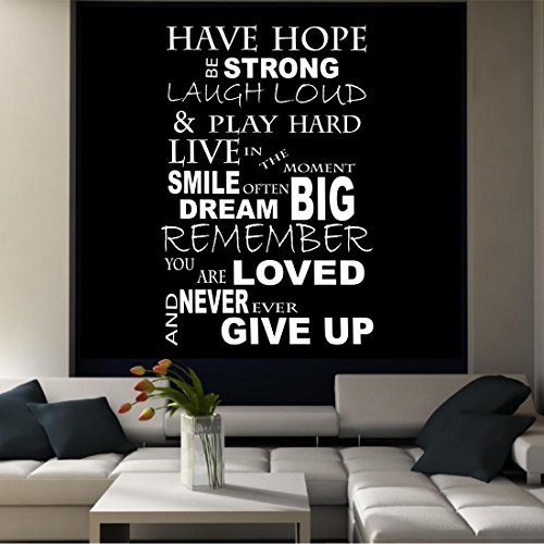HOPE LAUGH DREAM LIFE LIVE QUOTE TALL WALL STICKER DECAL MURAL ADHESIVE VINYL from Wall Smart Designs
