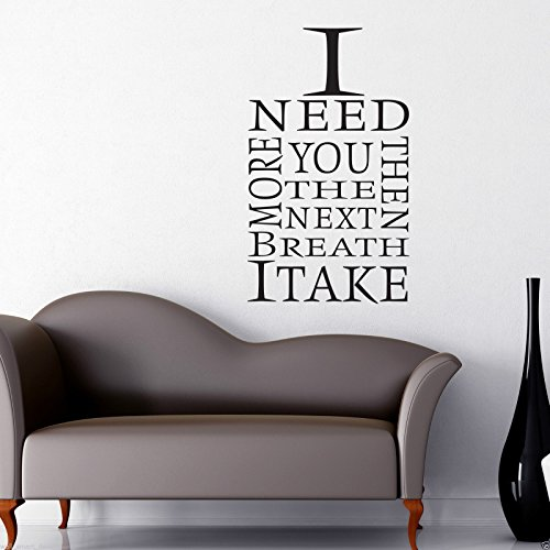 I NEED YOU MORE Room Wall Art Sticker Quote Decal Mural Stencil Transfer from Wall Smart Designs