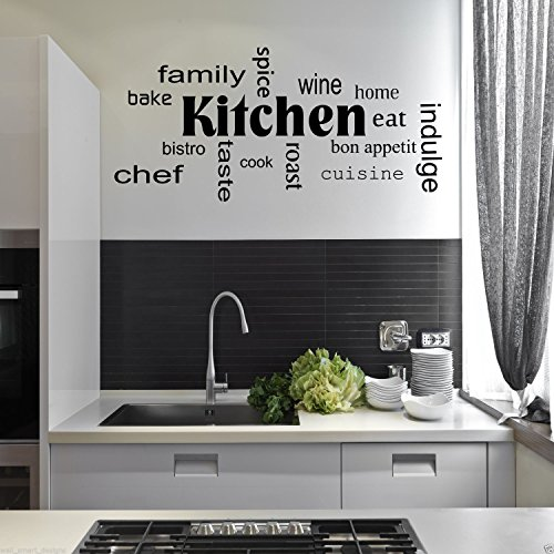 Kitchen Words Phrases Wall Art Sticker Quote Decal Mural Stencil Transfer Decor WSD442 from Wall Smart Designs