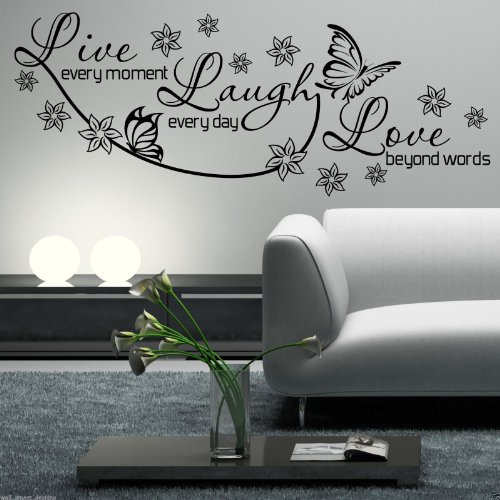 LIVE LAUGH LOVE Wall Art Sticker Lounge Room Quote Decal Mural Stencil Transfer WSD435 from Wall Smart Designs