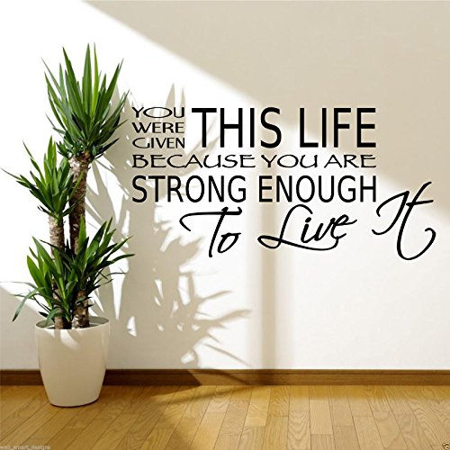 LIVE LIFE STRONG ENOUGH Room Wall Art Sticker Quote Decal Mural Stencil Transfer from Wall Smart Designs