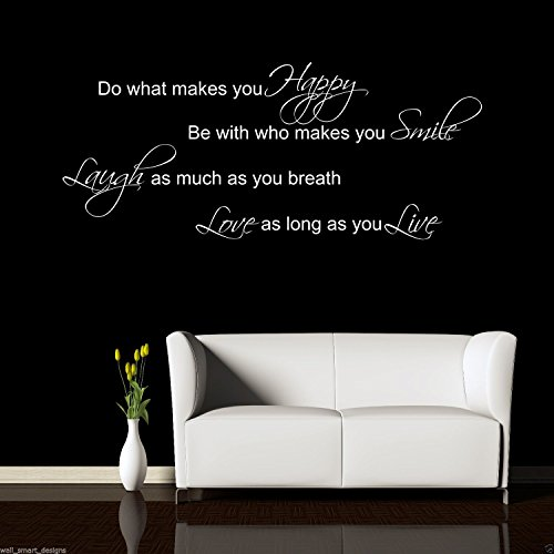 Laugh Smile Love Live Wall Art Sticker Quote Room Decal Mural Stencil Transfer from Wall Smart Designs