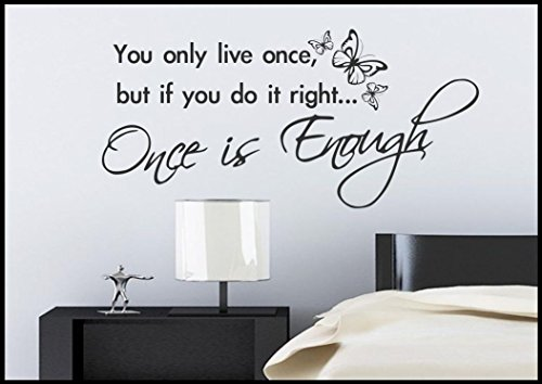 Life Live Once Wall Quote Vinyl Tattoo Sticker Decal Transfer Mural Stencil Art WSD422 from Wall Smart Designs