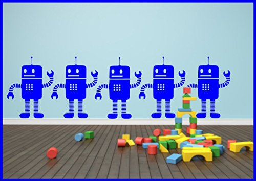 Little Robots x1 Children's Wall Sticker Decal Wall Tattoo Stencil Poster from Wall Smart Designs