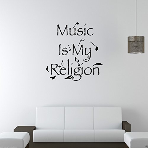 MUSIC IS MY RELIGION Room Wall Art Sticker Quote Decal Mural Stencil Transfer WSD408 from Wall Smart Designs