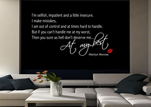 Marilyn Monroe Wall Quote Sticker Decal Mural Transfer Stencil Vinyl Art Tattoo WSD520 from Wall Smart Designs