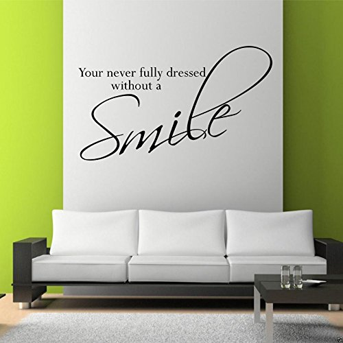 SMILE Wall Art Sticker Lounge Bedroom Kitchen Quote Decal Mural Transfer Sticker WSD365 from Wall Smart Designs