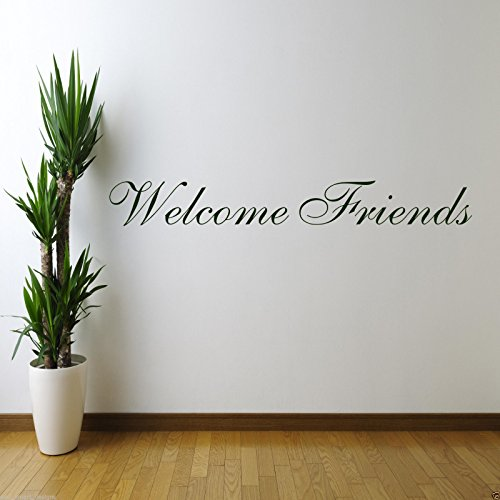 WELCOME FRIENDS Wall Art Sticker Kitchen Quote Decal Mural Stencil Transfer WSD601 from Wall Smart Designs