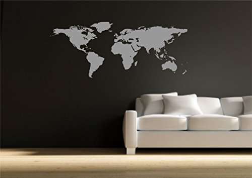 World Map Atlas Wall Sticker Quote Decal Transfer Mural Stencil Art Tattoo WSD590 from Wall Smart Designs
