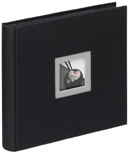 walther design FA-209-B Black & White linen cover, book bound album with die cut for your personal picture, 10.2 x 10.2 inch (26 x 26 cm), 50 black pages, black from Walther