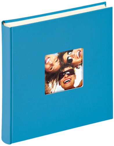Walther design FA-208-U Fun Trend high quality book bound album with die cut for your personal picture, 11.75 x 11.75 inch (30 x 30 cm), 100 white pages, ocean blue from Walther