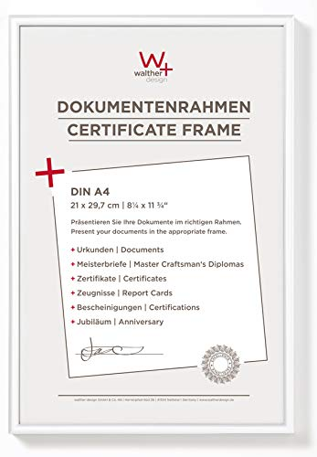 walther design KV130W New Lifestyle picture frame, 8.25 x 11.75 inch (21 x 29.7 cm), white from Walther