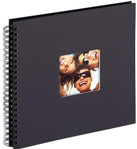 walther design SA-110-B Fun Standart high quality wire-o bound album with die cut for your personal picture, 11.75 x 11.75 inch (30 x 30 cm), 50 black pages, black from Walther