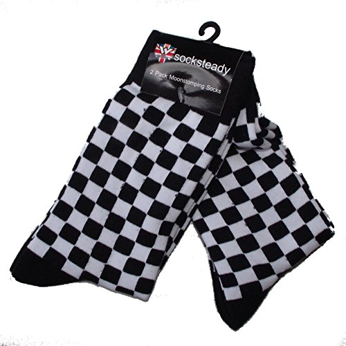 5656c073603 Mens Black and White Check Socks - Pack of 4 Pairs - 2 Tone Style