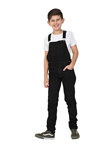 Wash Clothing Company Boys Dungarees Age 4-14 Years - Black Slim Fit Overalls MATTHEWBLACK-8 Years from Wash Clothing Company