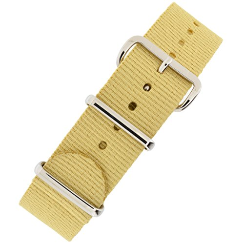 NATO-Style Watch Strap in Beige with Polished Buckle and Keepers (20mm) from WatchObsession