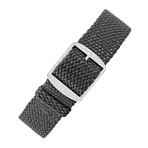 Perlon-Style Braided One Piece Watch Strap & Buckle in Dark Grey (20mm) from WatchObsession
