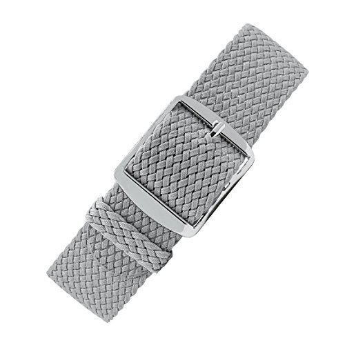 Perlon-Style Braided One Piece Watch Strap & Buckle in Grey (20mm) from WatchObsession