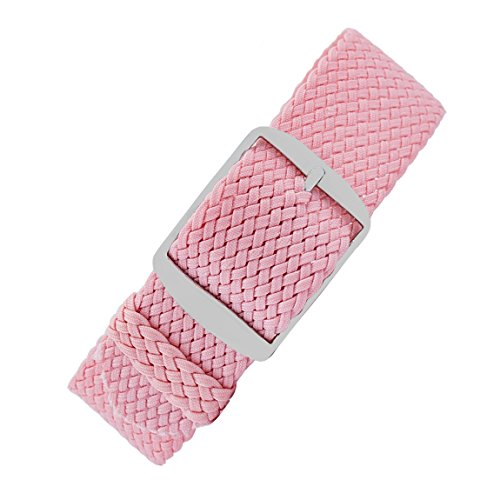 Perlon-Style Braided One Piece Watch Strap & Buckle in ROSA Pink (20mm) from WatchObsession