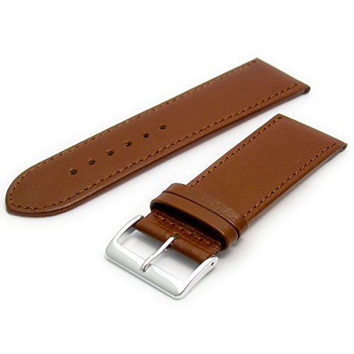 Comfortable Flexible Leather Watch Strap Band Buffalo Grain 26mm Width Brown with Chrome (Silver Colour) Buckle R614s from WatchWatchWatch