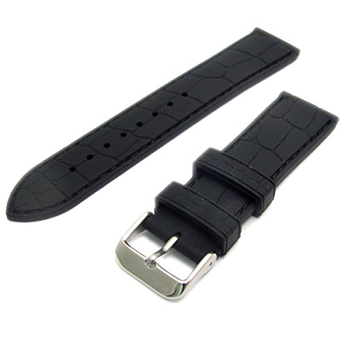 Croc Pattern Silicone Watch Strap Stainless Steel Buckle 24mm C033 (Black) from WatchWatchWatch