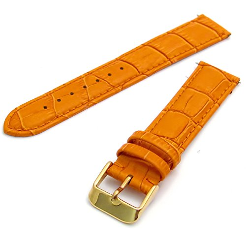 Extra Long XL Leather Watch Strap Orange Padded Croc Grain 20mm with Gilt (Gold Colour) Buckle from WatchWatchWatch