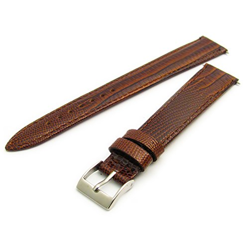 Extra Long XL Men's Leather Watch Strap Band Lizard Grain (Flat Profile) - 16mm Brown with Chrome (Silver Colour) Buckle from WatchWatchWatch