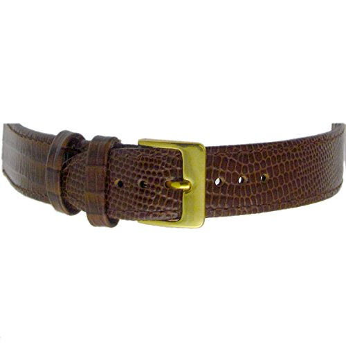 Extra Long XL Men's Leather Watch Strap Band Lizard Grain (Flat Profile) - 16mm Brown with Gilt (Gold Colour) Buckle from WatchWatchWatch