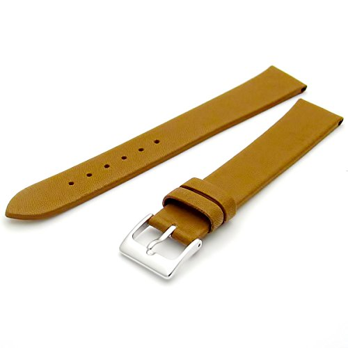 Fine Calf Leather Watch Strap Band 16mm Extra-Long XL Tan with Chrome (Silver Colour) Buckle. Free Spring Bars (Watch Pins) from WatchWatchWatch