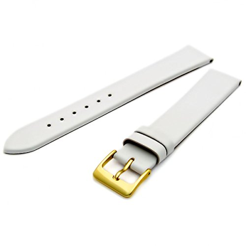 Fine Calf Leather Watch Strap Band 20mm Extra-Long XL White with Gilt (Gold Colour) Buckle. Free Spring Bars (Watch Pins) from WatchWatchWatch