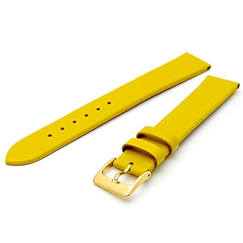 Fine Calf Leather Watch Strap Band 20mm Extra-Long XL Yellow with Gilt (Gold Colour) Buckle. Free Spring Bars (Watch Pins) from WatchWatchWatch