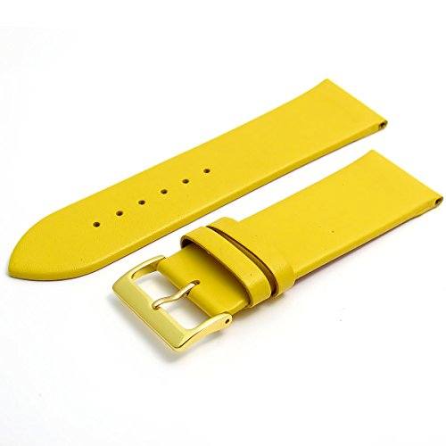 Fine Calf Leather Watch Strap Band 24mm Yellow with Gilt (Gold Colour) Buckle. Free Spring Bars (Watch Pins) from WatchWatchWatch