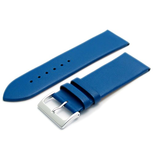 Fine Calf Leather Watch Strap Band 30mm Mid Blue with Chrome (Silver Colour) Buckle. Free Spring Bars (Watch Pins) from WatchWatchWatch
