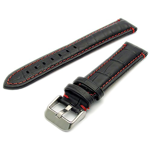 Fine Padded Alligator Grain Watch Strap Band Black Coloured Stitching 20mm Red from WatchWatchWatch