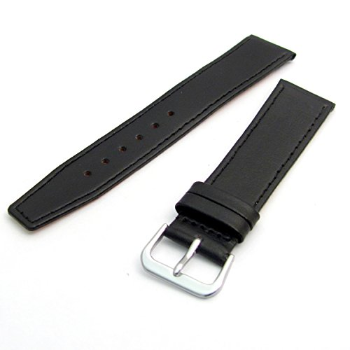 Fine Stitched Calf Leather Watch Strap Band with Pins 18mm Black with Chrome (Silver Colour) Buckle R622/18s from WatchWatchWatch