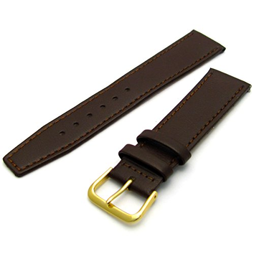 Fine Stitched Calf Leather Watch Strap Band with Pins 20mm Brown with Gilt (Gold Colour) Buckle R623/20 from WatchWatchWatch