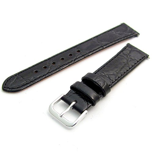 Genuine Leather Watch Strap Flat Crocodile Grain 16mm Black with Chrome (Silver Colour) Buckle from WatchWatchWatch