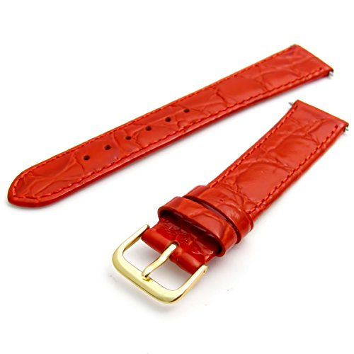 Genuine Leather Watch Strap Flat Crocodile Grain 16mm Red with Gilt (Gold Colour) Buckle from WatchWatchWatch