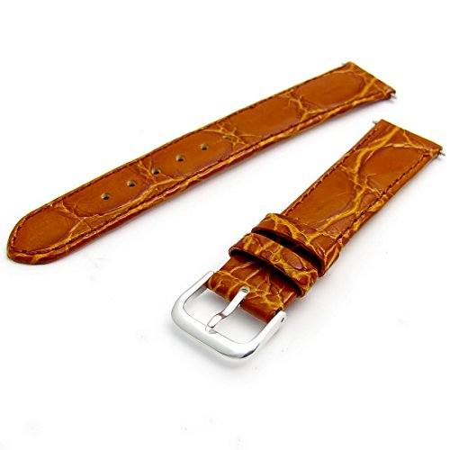 Genuine Leather Watch Strap Flat Crocodile Grain 16mm Tan with Chrome (Silver Colour) Buckle from WatchWatchWatch