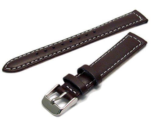 Ladies Smooth Contrast Stitched Padded Leather Watch Strap Brown 12mm Wide c030 from WatchWatchWatch