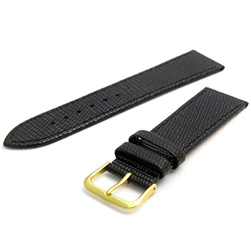Men's Genuine Leather Watch Strap Lizard Grain 16mm Black with Gilt (Gold Colour) Buckle 616g/16 from WatchWatchWatch