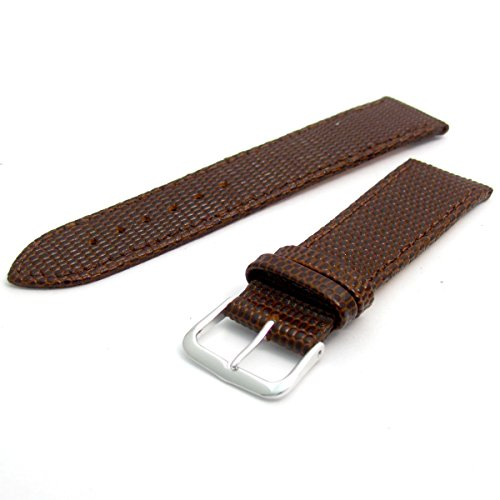 Men's Genuine Leather Watch Strap Lizard Grain 22mm Brown with Chrome (Silver Colour) Buckle 617s/22 from WatchWatchWatch