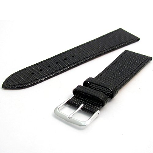 Men's Genuine Leather Watch Strap Lizard Grain 26mm Black with Chrome (Silver Colour) Buckle 616s/26 from WatchWatchWatch