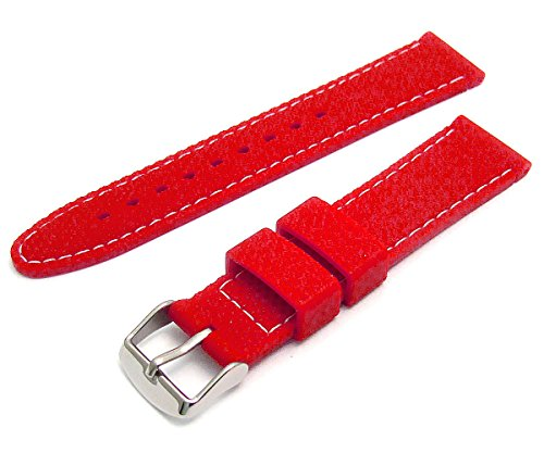 Men's Silicone Watch Strap Diamond Cut Pattern 22mm Wide Red with White Stitching C052 from WatchWatchWatch