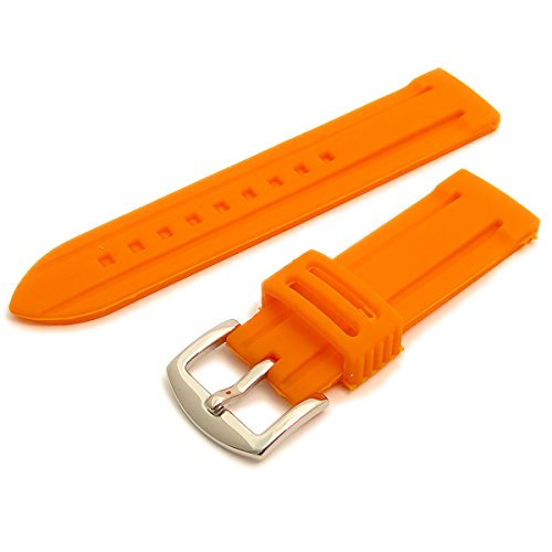 Replacement Silicone Rubber Watch Strap Orange 20mm Wide with Steel Buckle C040 from WatchWatchWatch