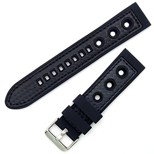 Silicone Grand Prix Racing Style Sports Watch Strap Band 24mm Black from WatchWatchWatch